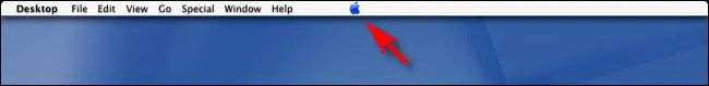 The Apple logo in the center of the menu bar on Mac OS X Public Beta.
