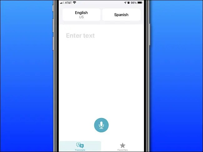 Apple Translate basic input screen on iPhone