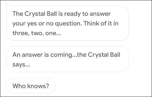 The Crystal Ball answering a question in Google Assistant.