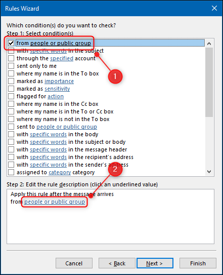"""Select the """"From People or Public Group"""" checkbox, and then click """"People or Public Group"""" in the """"Rules Wizard."""""""