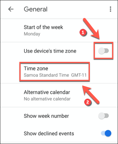 "Tap the ""Use Device's Time Zone"" slider to the off position, then click the ""Time Zone"" option beneath."