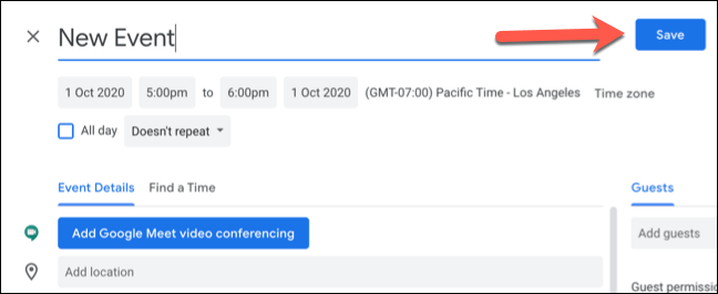 "Click ""Save"" to save the new Google Calendar event with custom time zones."