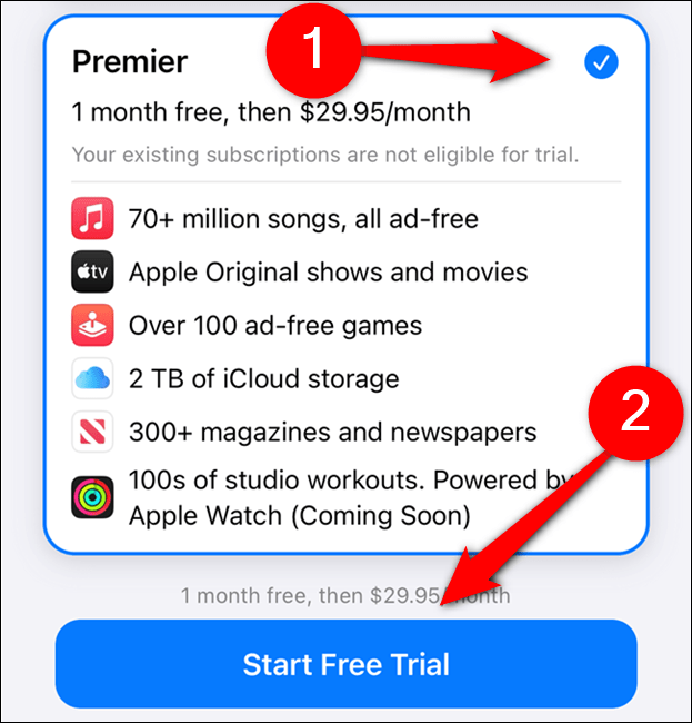 """Choose an Apple One plan and then select """"Start Free Trial"""""""