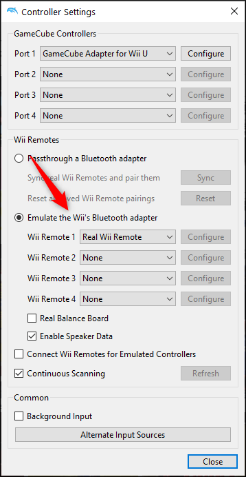 """Select """"Emulate the Wii's Bluetooth Adapter"""" and select the Wii Remote"""