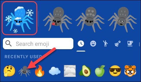 Select the second emoji, and your custom mash-up will appear at the top left.