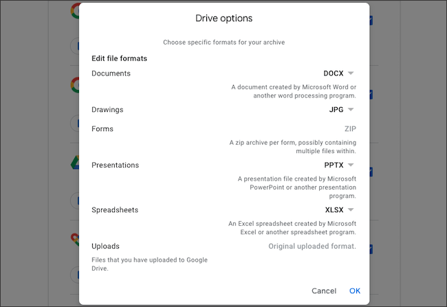 Edit file formats for Google Drive data export