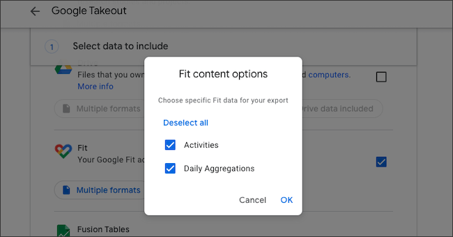 Google Fit data export options