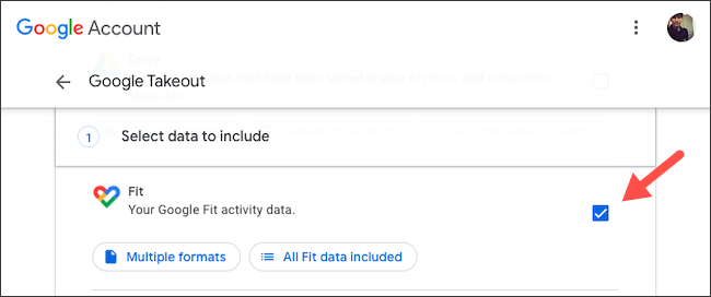 Back up Google Fit data with Takeout
