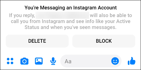 "The ""You're Messaging an Instagram Account"" pop-up in Facebook Messenger."