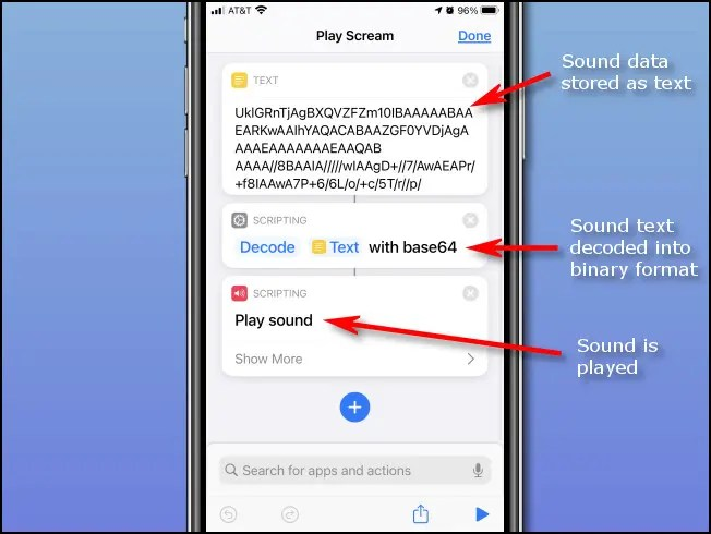 """A guide showing the steps of the """"Play Scream"""" shortcut code on an iPhone."""