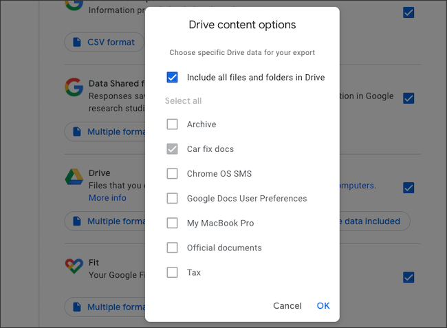 Select Google Drive folders to export