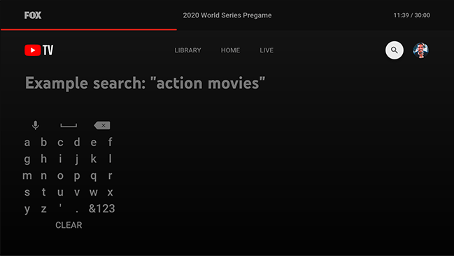 type in the show or movie you're searching for