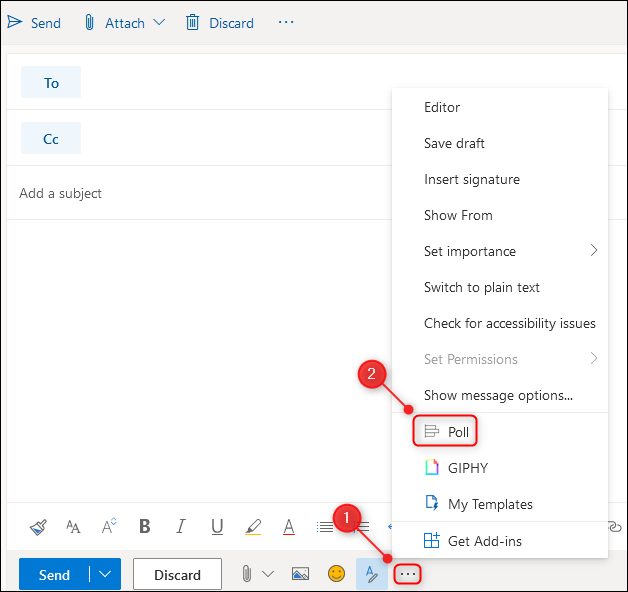 """The """"Poll"""" option on the email menu."""
