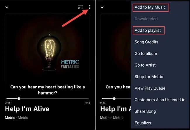 save song or add to playlist