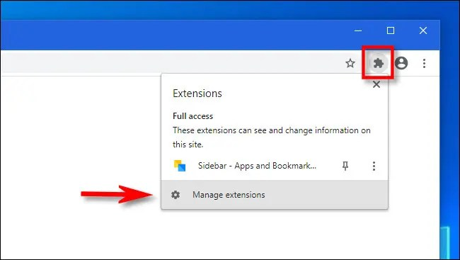 """In Chrome, click the Extensions button and select """"Manage extensions."""""""