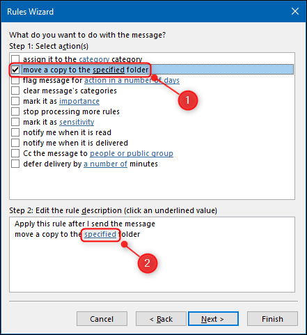 """The """"move a copy to the specified folder"""" option in the Rules Wizard."""
