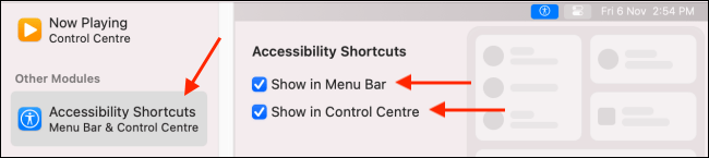 Add Accessibility Shortcuts to Menu Bar and Control Center