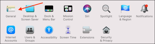 Click General from System Preferences