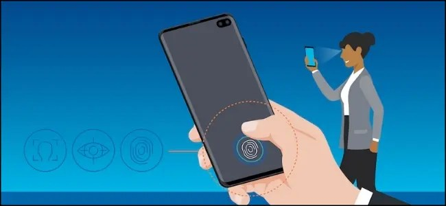 A drawing of a woman using the Samsung Biometric Recognition on the back of a smartphone.