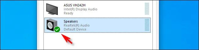 In Windows 10, a green check mark beside the speakers icon means it is the default device.