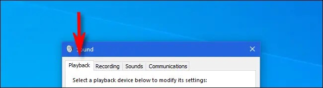 "In Windows 10, click the ""Playback"" tab."