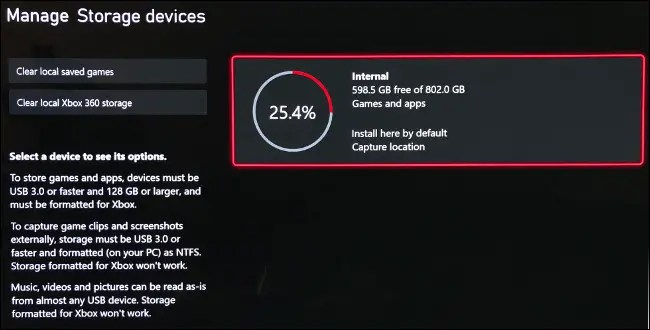 """The """"Manage Storage Devices"""" screen on Xbox Series X."""