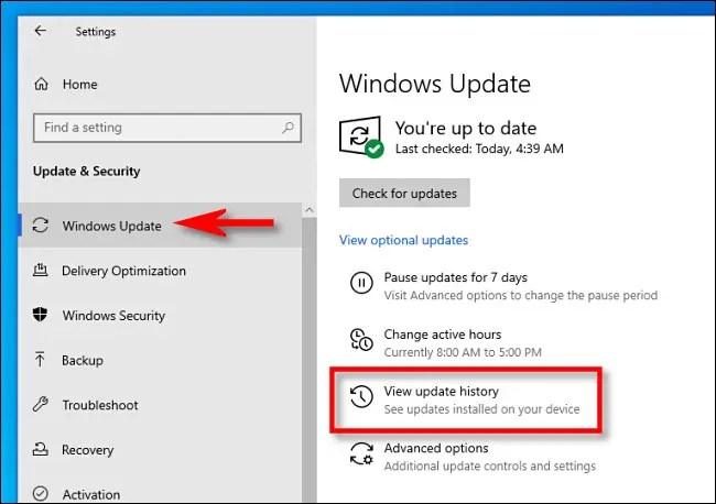"""Click Windows Update, then click """"View update history."""""""