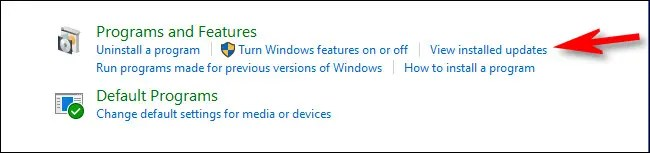 """In Control Panel, click """"View installed updates."""""""