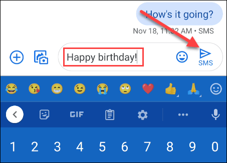 enter a message and tap the arrow