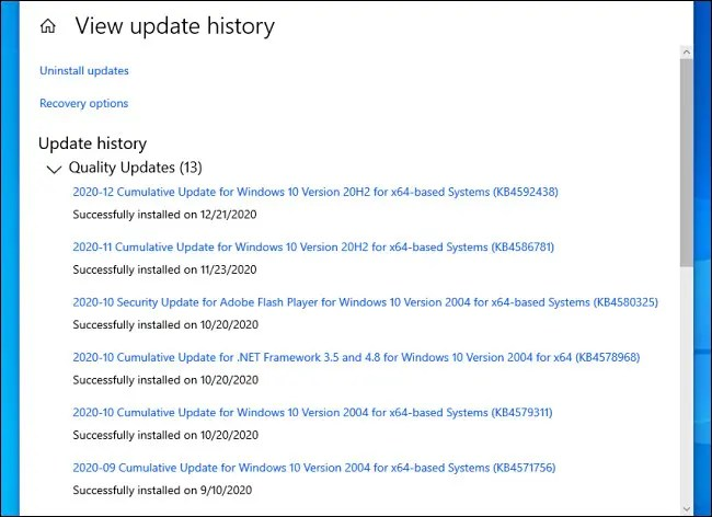 A list of installed Windows 10 updates in Settings.