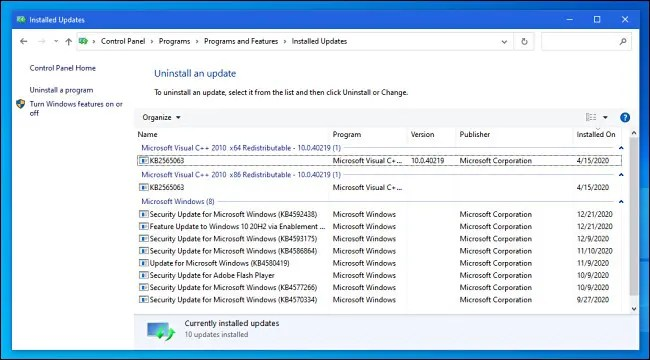 Viewing installed updates in Windows 10 Control Panel.