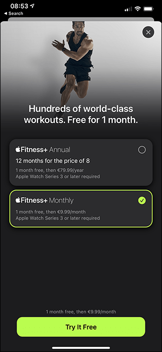 fitness + subscription screen