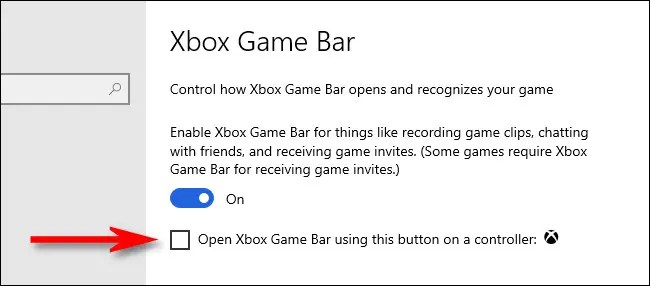 Uncheck this box to disable the Xbox button in Windows 10