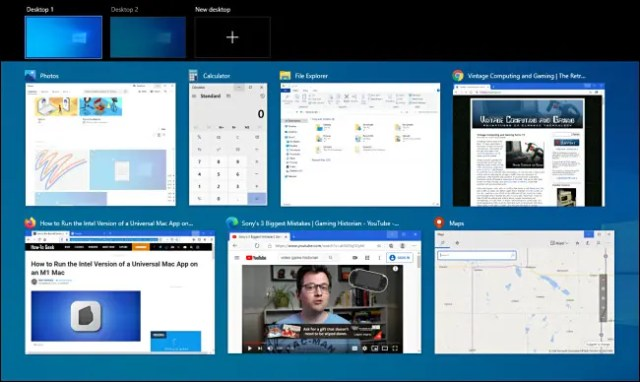 An example of Windows 10 Task View with many windows open.
