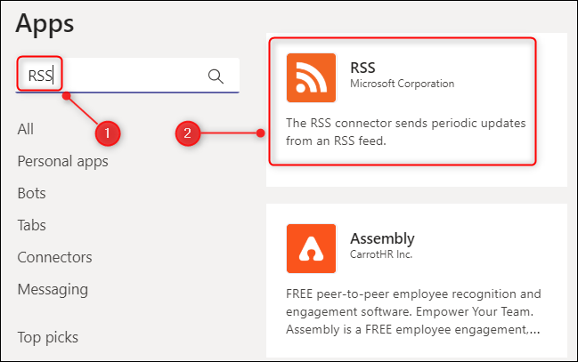 The RSS connector for Microsoft Teams.
