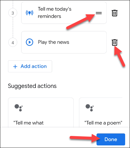 delete or move actions and tap done
