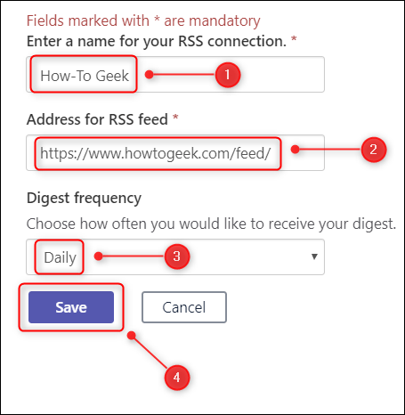 The textboxes in which to enter the feed details.