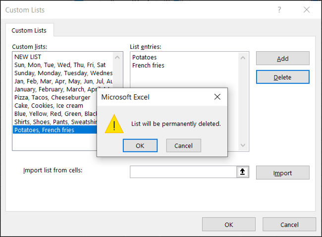 Select the list and click Delete, OK