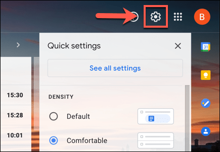 On the Gmail webpage, click the settings cog icon in the top-right.