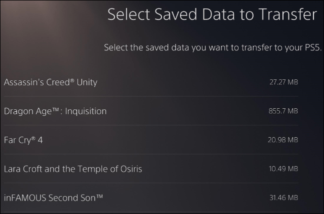 ps4 saves move to ps5 via data transfer