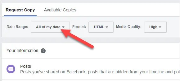 click all of my data