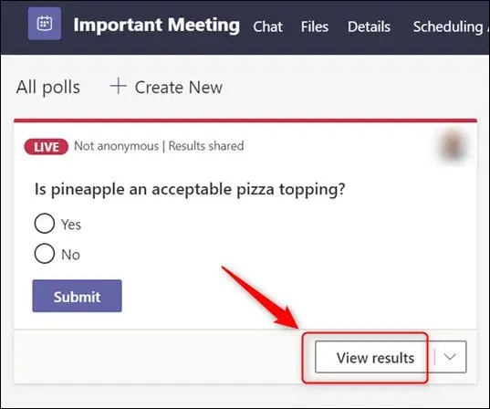 """The """"View results"""" option."""