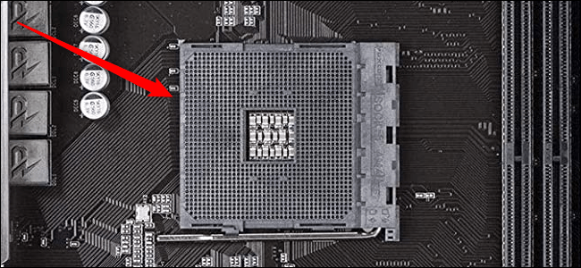 Close-up of a CPU socket on an AMD-compatible board.