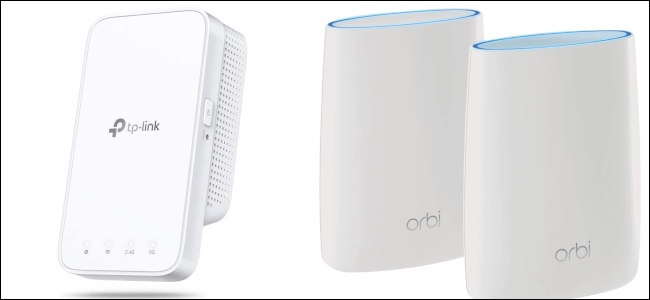 Two orbi mesh devices next to a TP-Link range extender