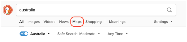 Access DuckDuckGo Maps from Search