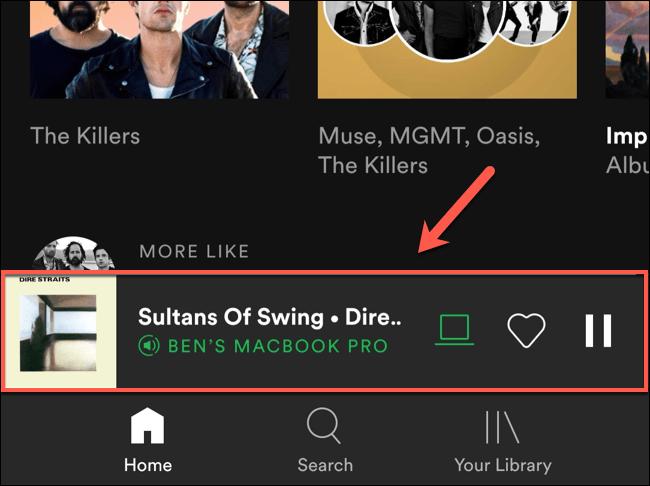 In the Spotify mobile app, tap the playing bar at the bottom of the app to view your playing music options.
