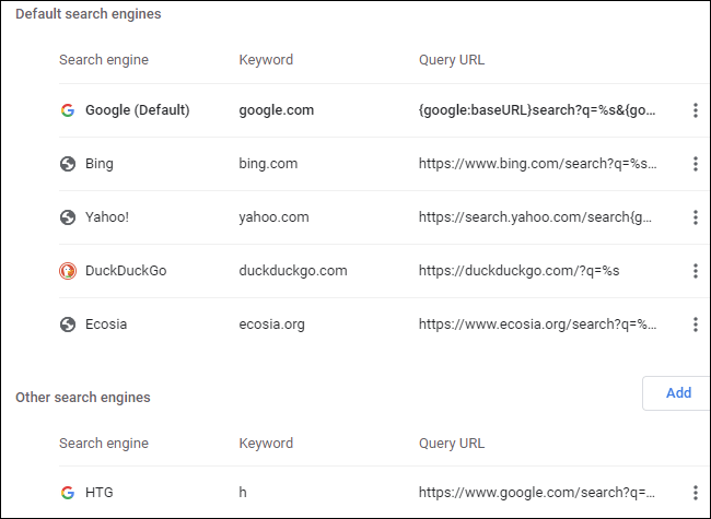 Custom search engines in Google Chrome.
