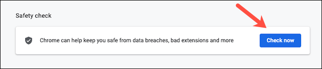 Find the security check in Google Chrome