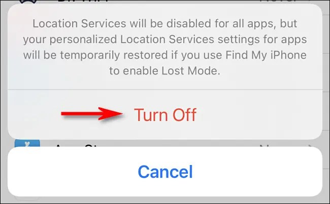 """When a warning pops up, tap """"Turn Off."""""""