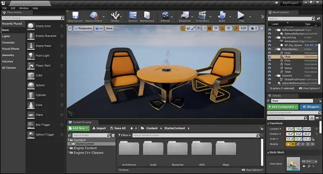 The Unreal Engine 4 Level Editor Interface